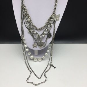 NY & Co Faux Pearl Beaded Chain Butterfly Necklace